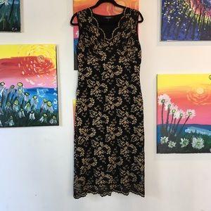 Karen Kane Black w/Nude Scallop Stretch Lace Dress